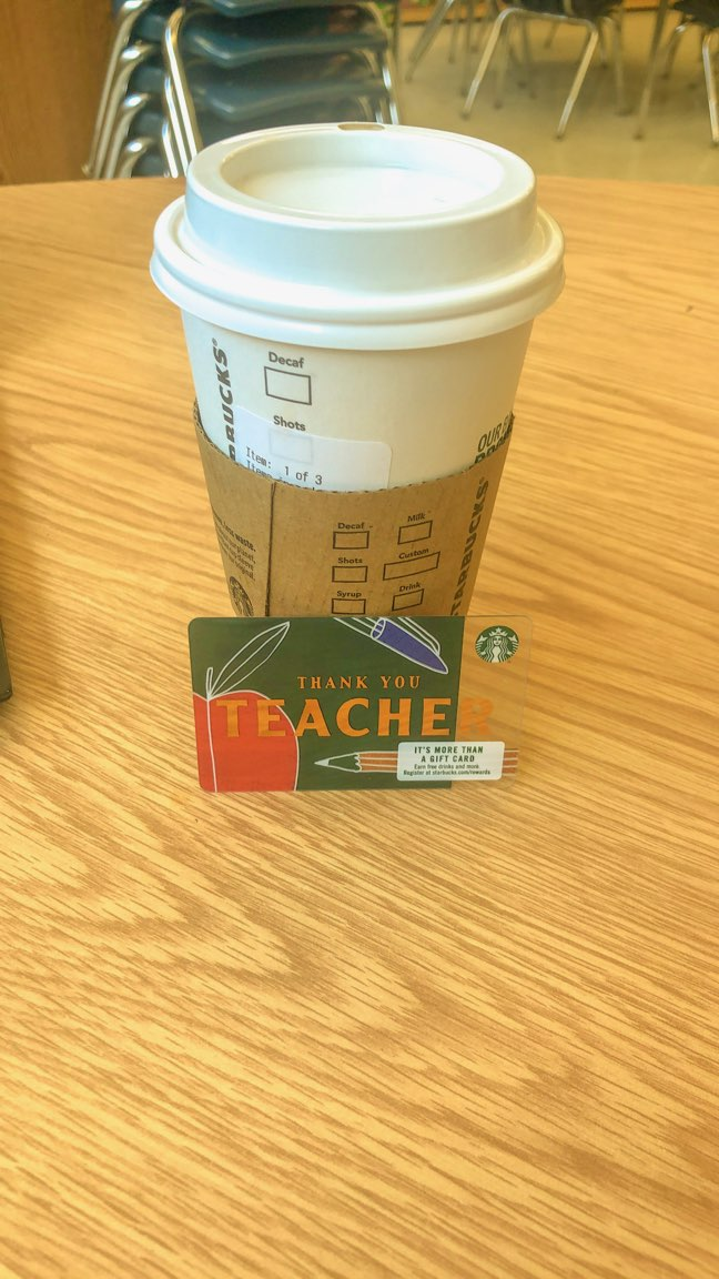starbucks teacher appreciation gift